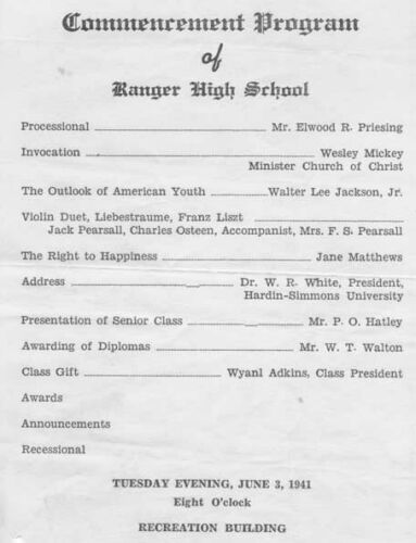 RHS 1941 Commencement Program